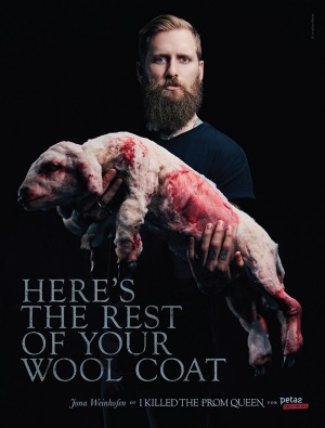 Australian musician Jona Weinhofen in PETA's controversial anti-wool campaign. Photo: PETA